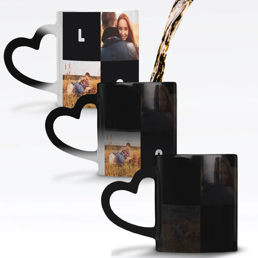 Personalised Black Magic Mug with heart handle revealing the design when it gets hot