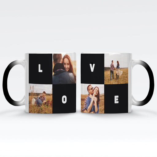 Personalised Black Magic Mug printed with 4 photo collage, and text blocks design wrapped around the mug