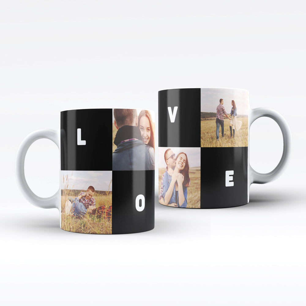 Personalised White Mug printed with 4 photo collage, and text blocks design wrapped around the mug