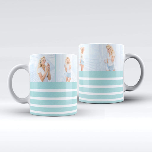 Personalised White mug with Turquoise glitter stripes and 4 photo collage