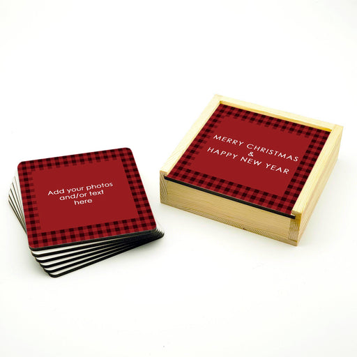 Personalised Coasters Set With Holder - Christmas Tartan design-your-gift.