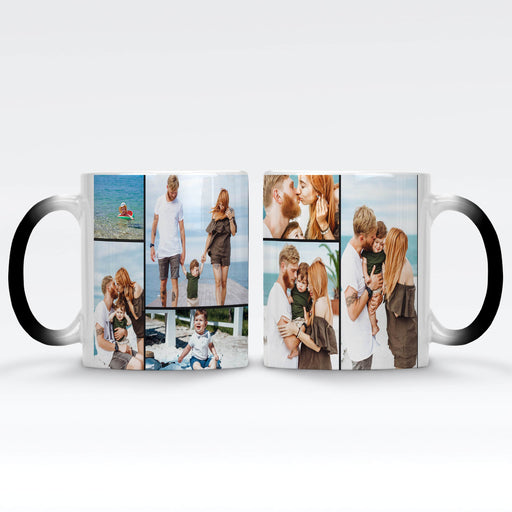 Personalised Black Magic Mug printed with 7 photo collage wrapped around the mug