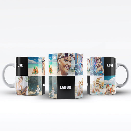Personalised white Mug printed with 7 photo collage, and 3 text blocks design wrapped around the mug