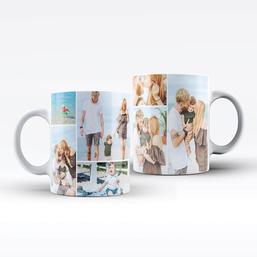 White custom mug printed with a 7 photo collage design wrapped around the mug