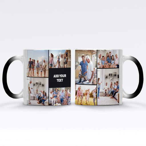 Personalised Black Magic Mug printed with 8 photo collage and text design wrapped around the mug
