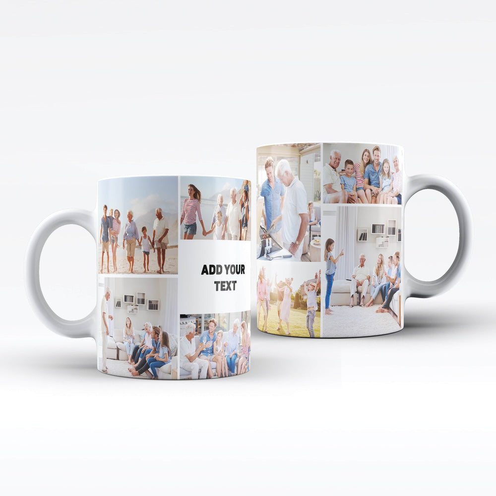 Personalised white Mug printed with 8 photo collage and text design wrapped around the mug