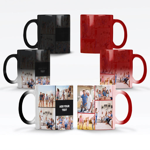 Personalised Black and Red Magic Mugs printed with 8 photo collage and text design wrapped around the mug