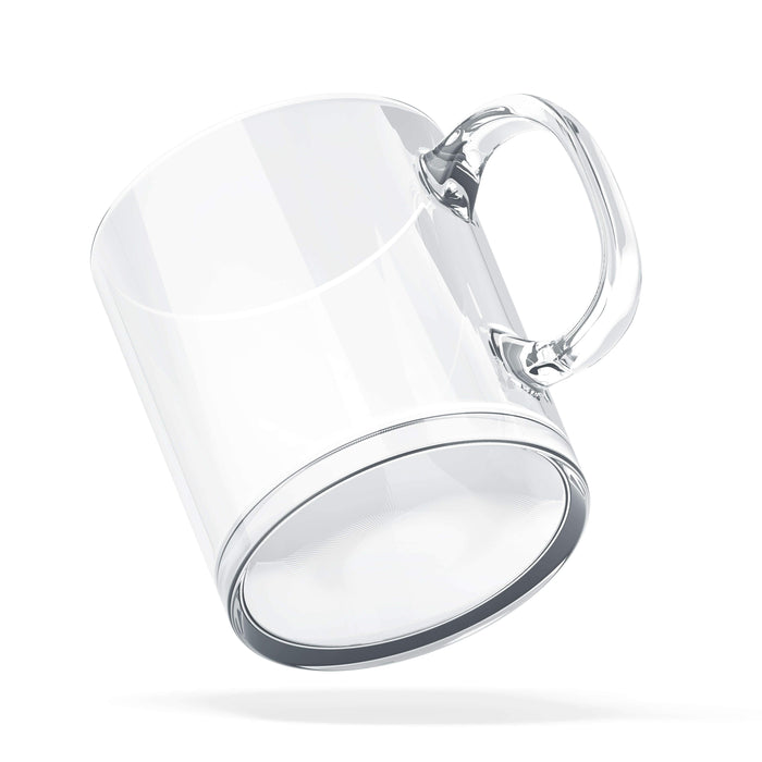 Clear Personalised glass mug with glossy finish and high quality tempered glass base view