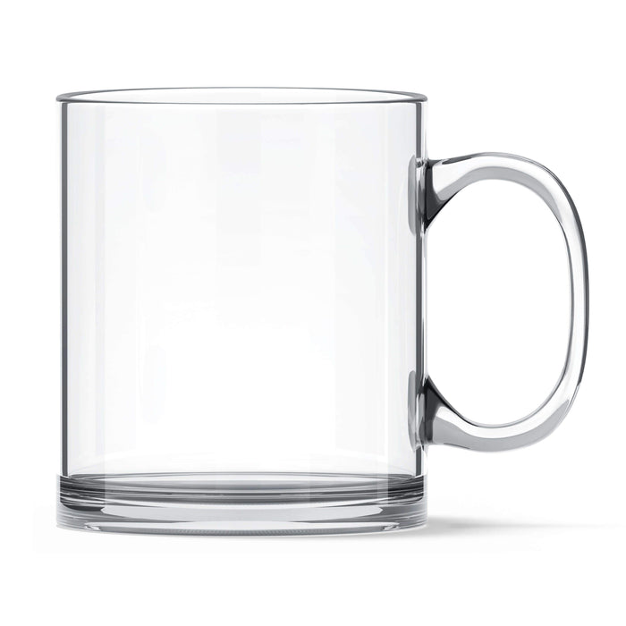 Clear Personalised glass mug with glossy finish and high quality tempered glass side view