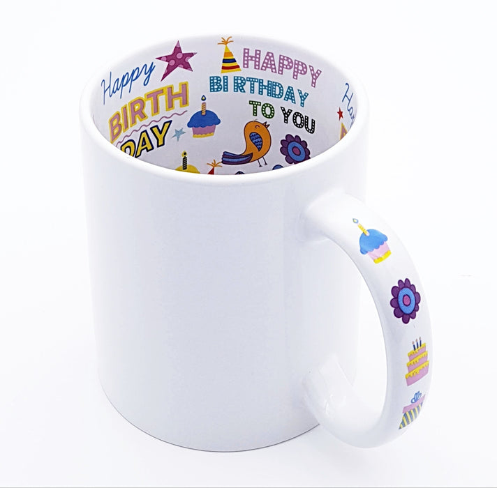White mug to be personalised printed with happy birthday messages and clip arts on the inside and the handle of the mug