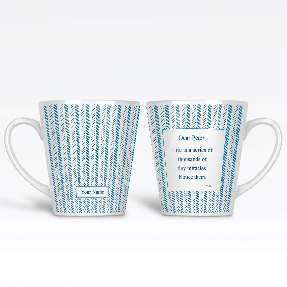 12oz Latte Mug with Blue Chevron Design personalised with name on the front and a text message on the back