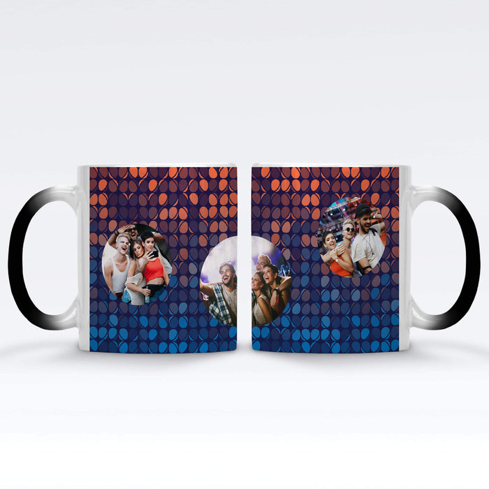 Personalised Black Magic Mug printed with 3 photos on colourful party lights background Vol1