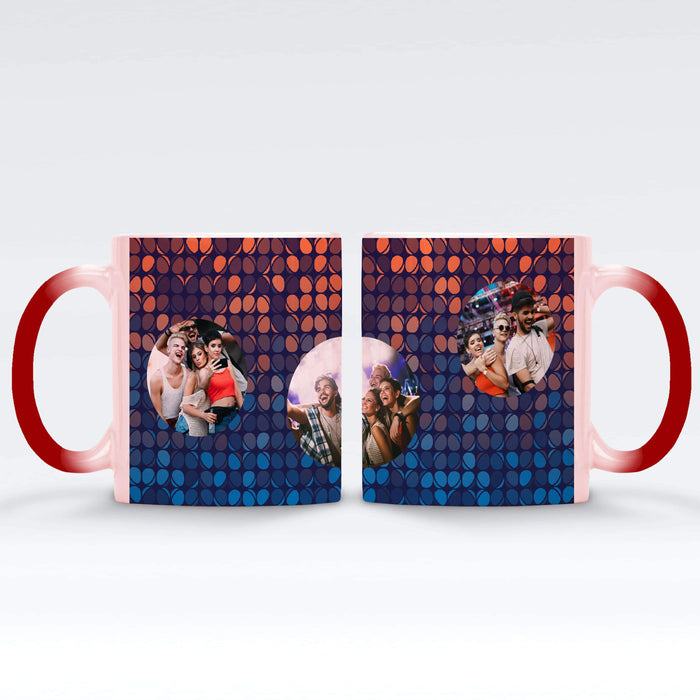 Personalised red Magic Mug printed with 3 photos on colourful party lights background Vol1
