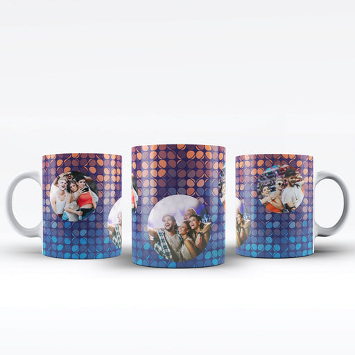 Personalised white Mug printed with 3 photos on colourful party lights background Vol1