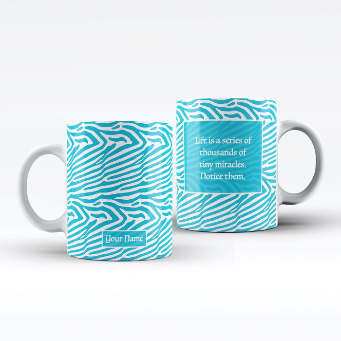 White Mug with Blue Zebra Design personalised with name on the front and a text message on the back