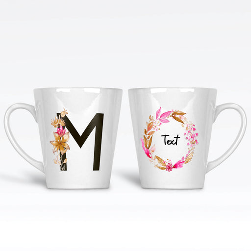 Initial and Text - Braid Floral Design | Latte Mug design-your-gift.