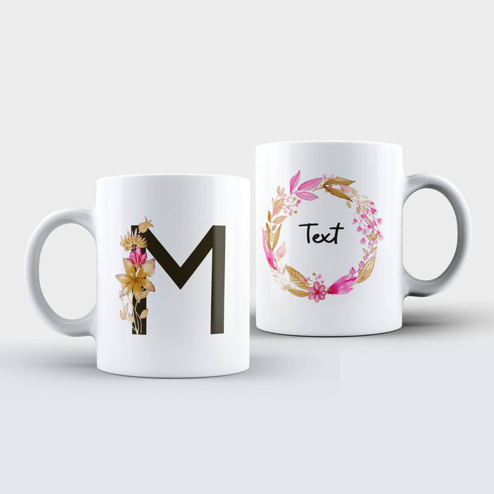 Initial and Text - Braided Floral Design | Personalised White Mug design-your-gift.