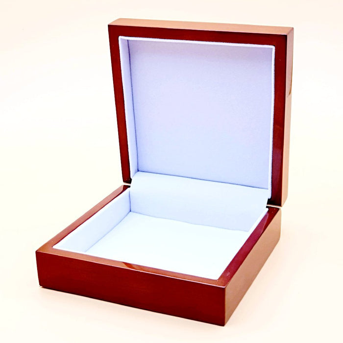 Brown Personalised Jewellery Box with soft white suede-like fabric.