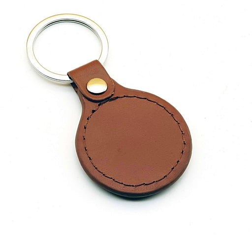 Brown Personalised Leather Keyring back
