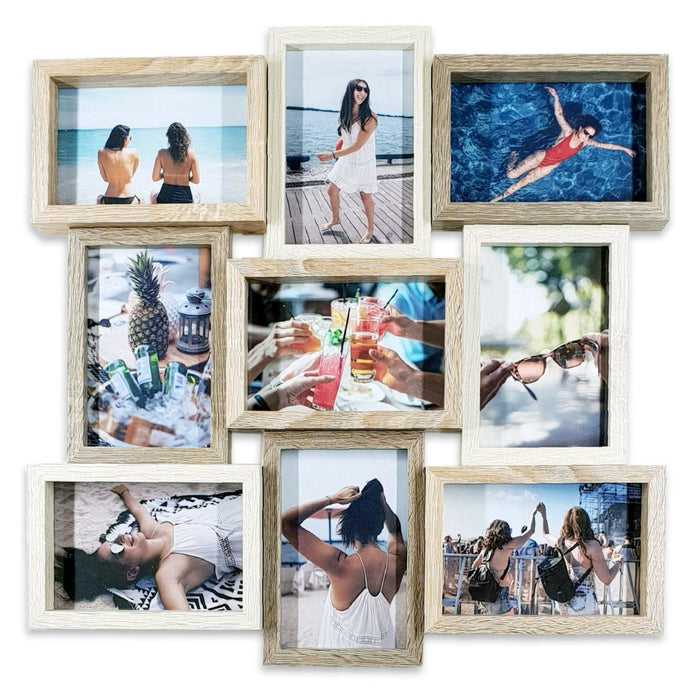 Large Collage Photo Frame with 9 Printed Photos 4x6
