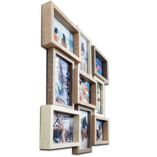 Large Collage Photo Frame with 9 Printed Photos 4x6 side view