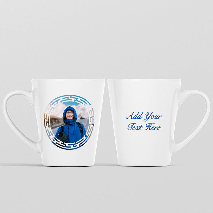 12 oz white Photo latte Mug personalised with a photo masked with circular maze shape and Text