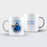 white Mug personalised with a photo masked with circular maze shape and Text