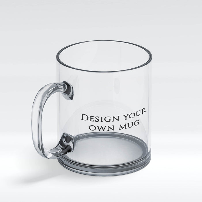 Personalised glass mug design your own mug front