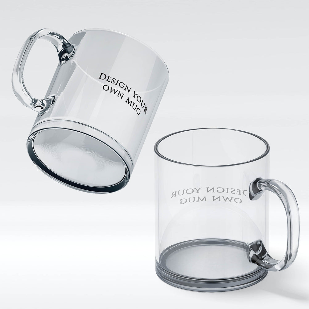 personalised clear tempered glass to be printed with your design wrapped around the mug