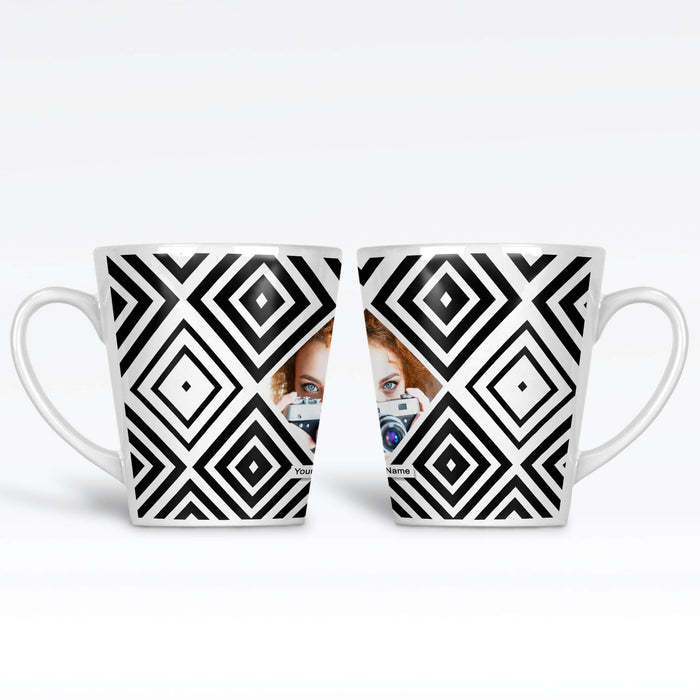 12 oz Photo latte mug with black geometric pattern surrounding a diamond shaped photo in the middle with name