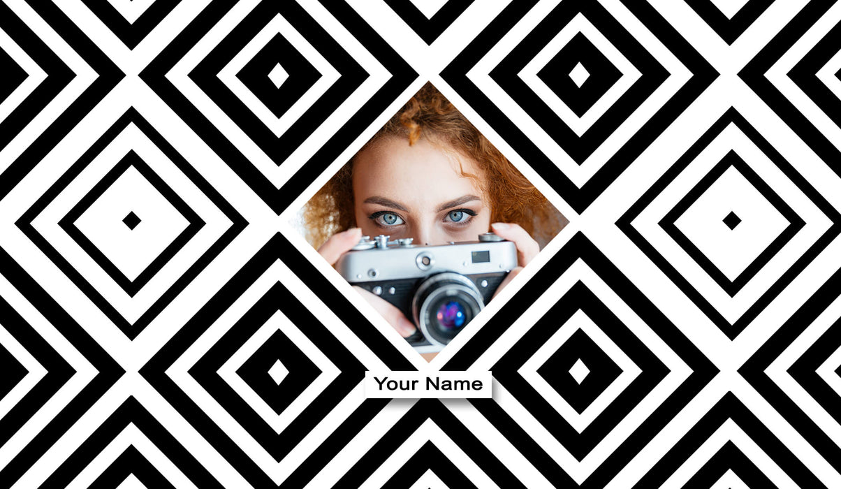 Photo and Name Mug Diamond Geometric Photo Latte Mug design template