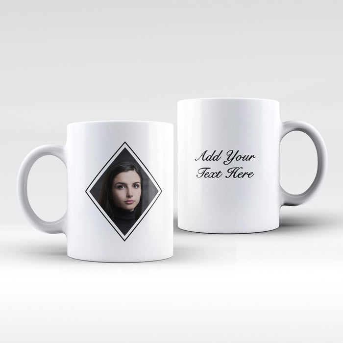 white Mug personalised with a photo masked with diamond shape and Text