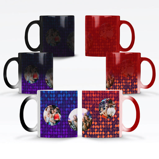 Personalised red and black magic mugs printed with 3 rounded photos on colourful party lights background with 4 different colours