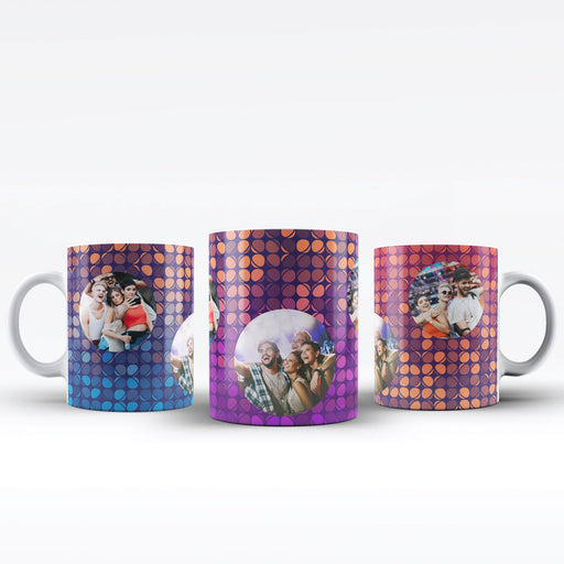 Personalised white mugs printed with 3 rounded photos on colourful party lights background available in 4 different colours