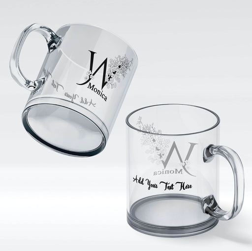Personalised glass mug with floral initial and a name on the front and a message on the back