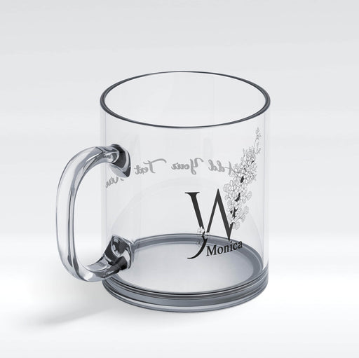 Personalised glass mug with floral initial and a name front view