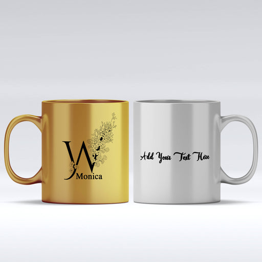 Floral Initial, Name & Text Mug | Gold Mugs and Silver Mugs design-your-gift.