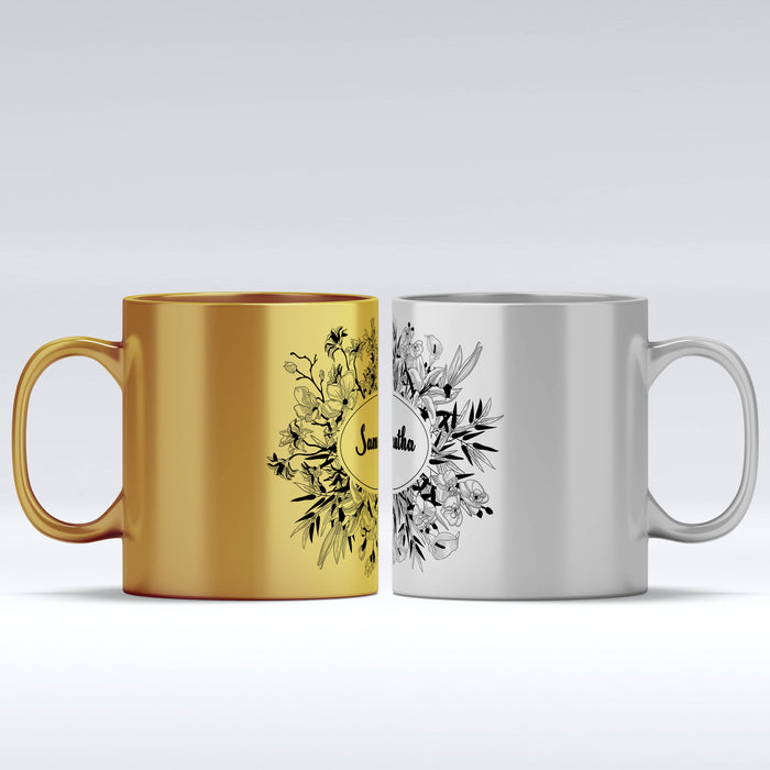 Name Mug - Floral Frame | Gold Mugs and Silver Mugs design-your-gift.
