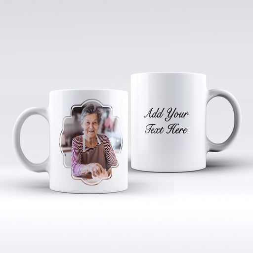 white Mug personalised with a photo in a curves frame and Text