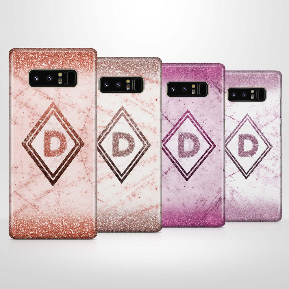 luxury Marble & Glitter With Initial - Galaxy Note 8 3D Custom Case design-your-gift.