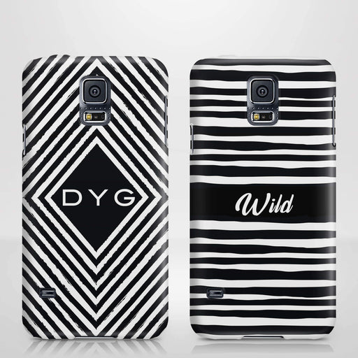 Black & White Patterns with Initial Samsung Galaxy S5 3D Custom Phone Case variants