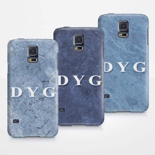 Blue Marble With Initials Samsung Galaxy S5 3D Custom Phone Case 3 variants
