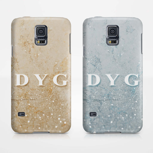 Glitter Marble With Initials Samsung Galaxy S5 3D Custom Phone Case variants
