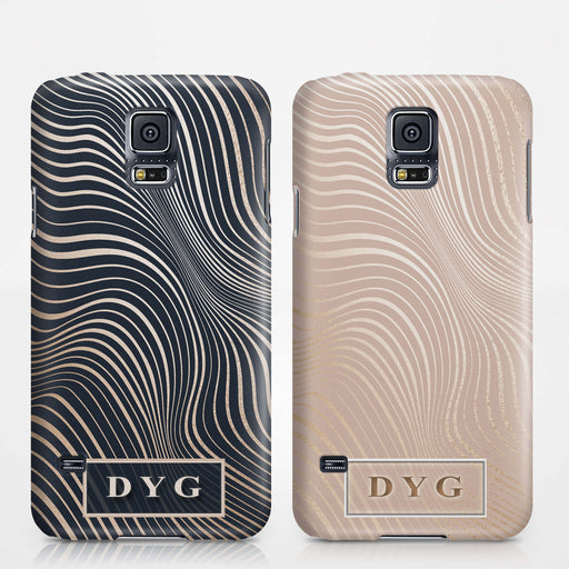 Glossy Waves With Initials Samsung Galaxy S5 3D Custom Phone Case Variants