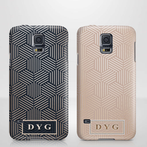 Glossy Geometric Pattern With Initials Samsung Galaxy S5 3D Phone Case variants
