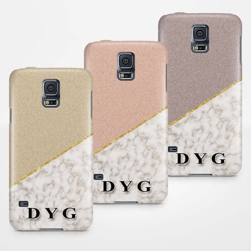 Gold Marble & Glitter With Initials Samsung Galaxy S5 3D Custom Phone Case Variants