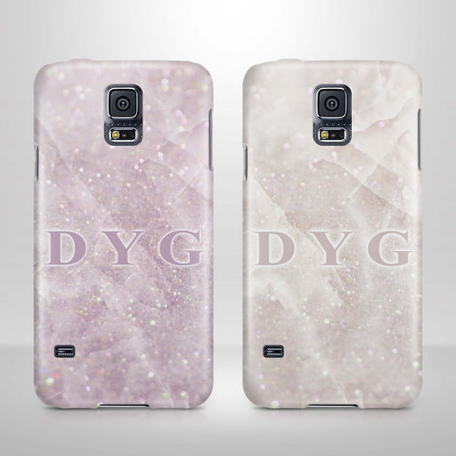 Luxury Glitter Marble With Initials Samsung Galaxy S5 3D Custom Phone Case variants