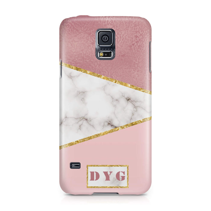 White & Rose marble With Initials Samsung Galaxy S5 3D Custom Phone Case design 2