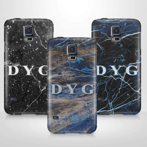Dark Marble With Initials Samsung Galaxy S5 3D Custom Phone Case variants