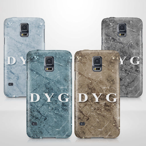 Sparkle Marble With Initials Samsung Galaxy S5 3D Personalised Phone Case variants